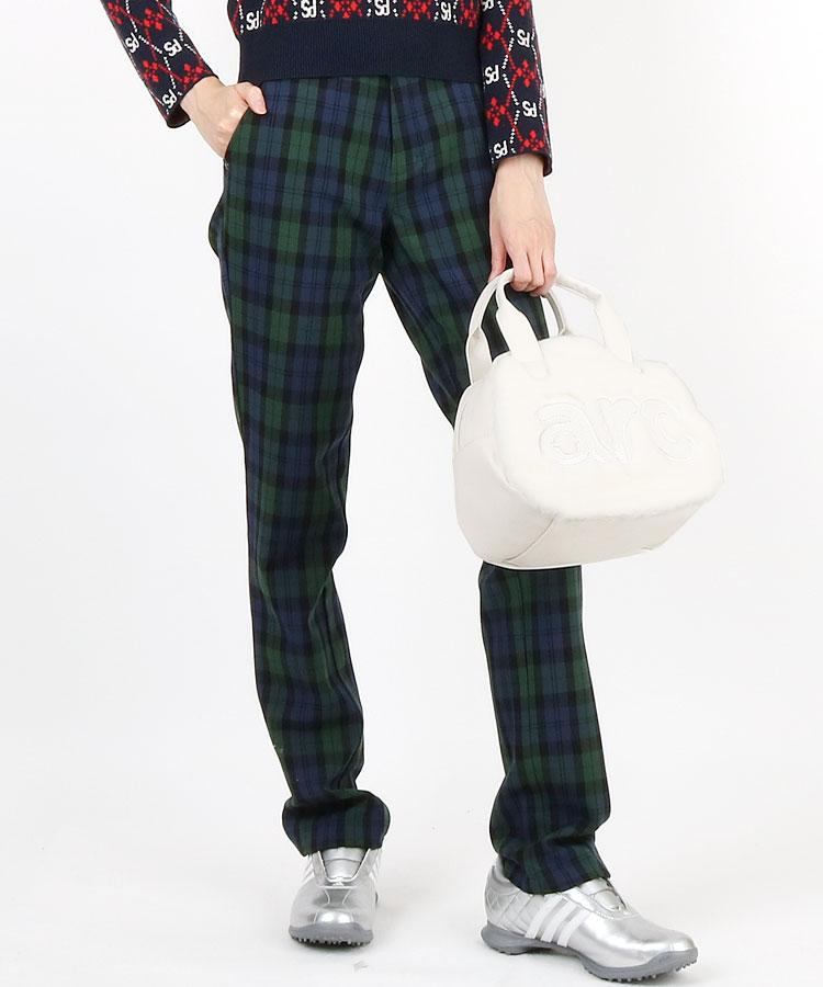 EG チェック柄◆微起毛パンツ(ネイビー)