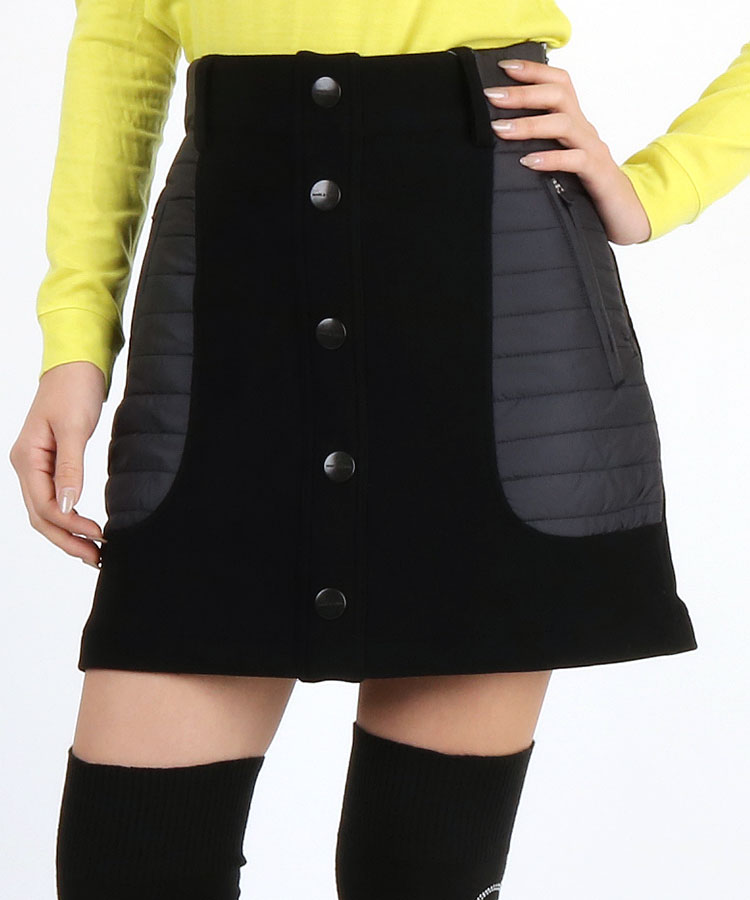 ML 異素材ポケ◆Fakeボタンコーデュロイ風スカート