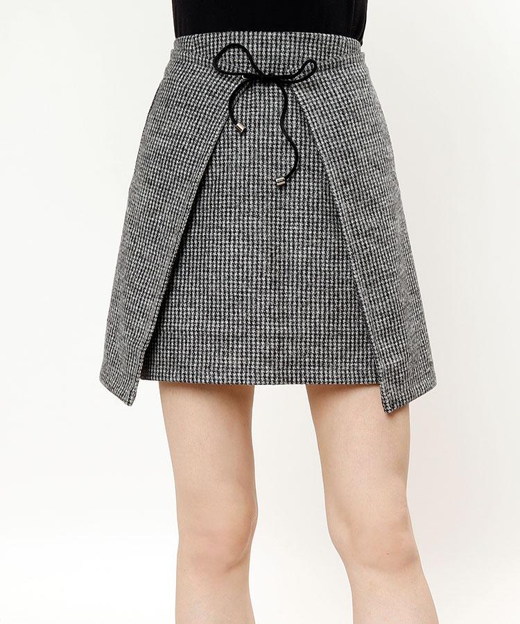 SA 千鳥柄◆微起毛ラップ風スカート