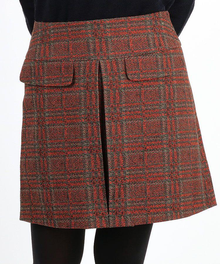 SA チェック柄ツイード風インバーテッドプリーツスカート