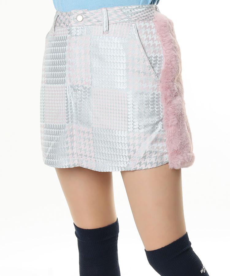 AI Frontグレンチェック♪Backふわふわファースカート