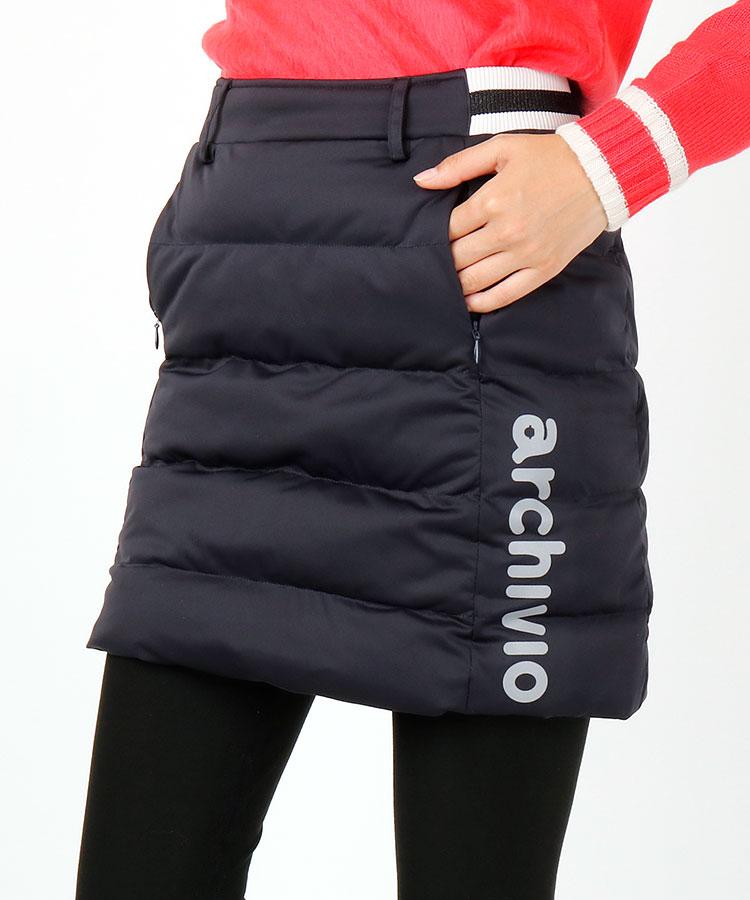 AR アシメ裾ロゴ◆Backラビットaワッペンふっくら中綿スカート
