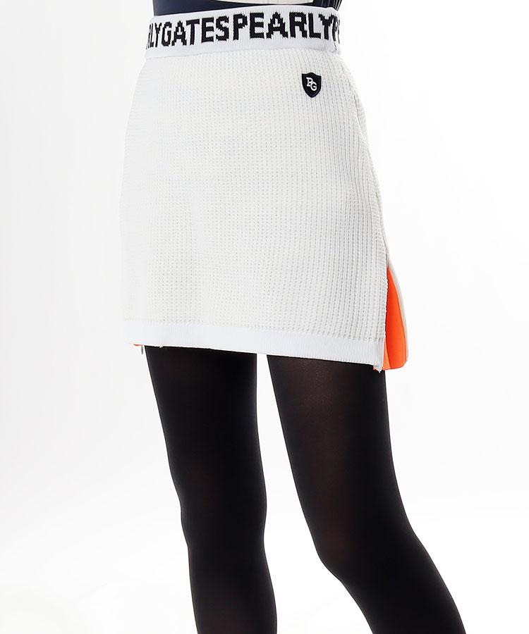 PG ウェストロゴ入◆ワッフルニット裾ZIPスカート