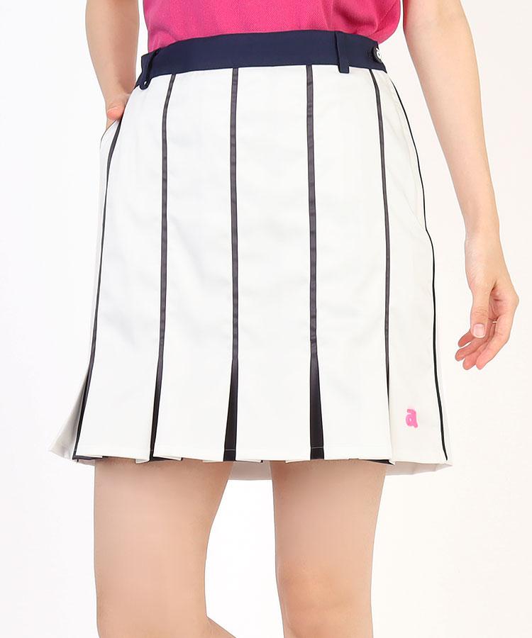 AR パネルStripe裾プリーツ異素材スカート