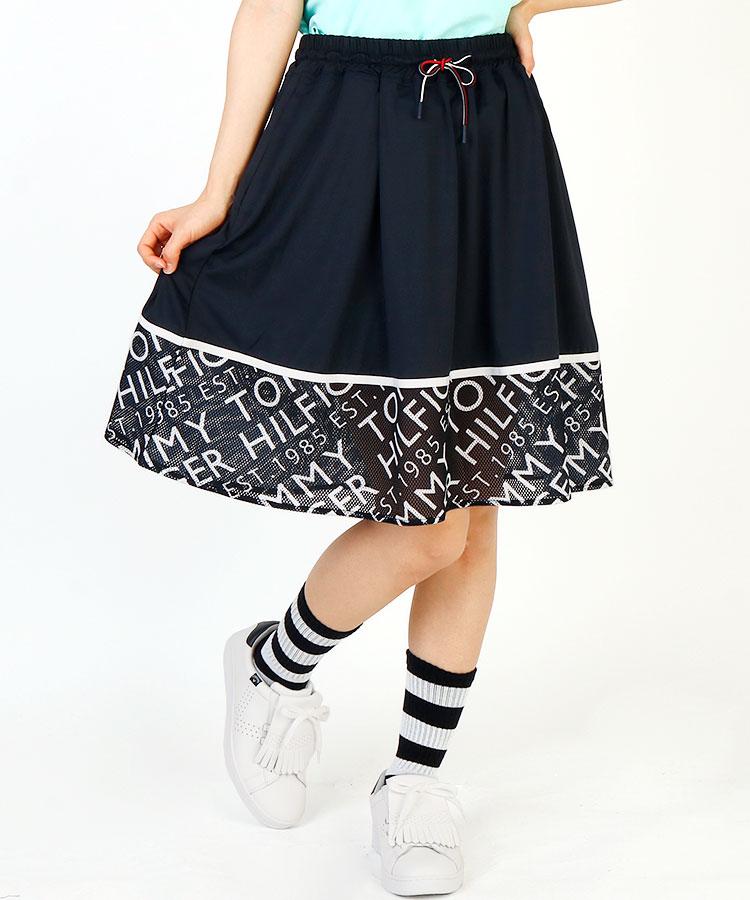 TH 裾ロゴ総柄メッシュ切替やわらかミドルスカート