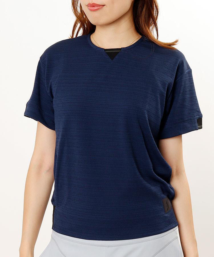 AG Back裾ジャガード◆メッシュライク半袖シャツ