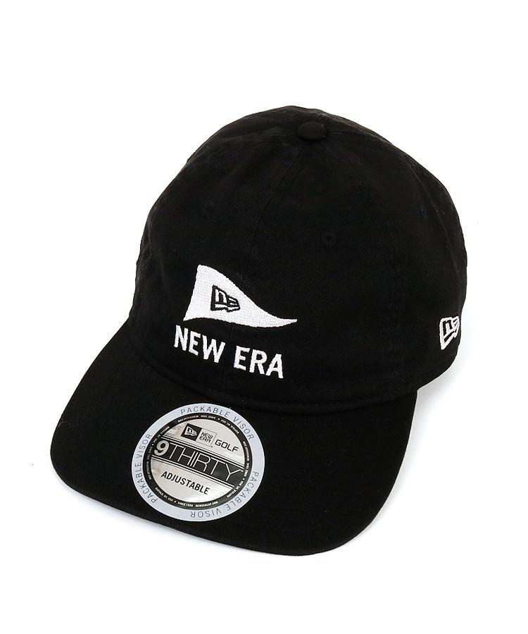 NE Flag風ロゴ刺繍パネル柔らかブリムキャップ(ブラック)