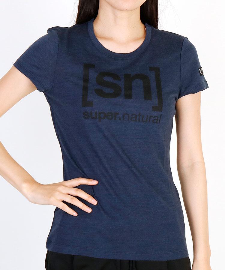 SN [SN]ロゴプリントパネル◆メランジ半袖Tシャツ