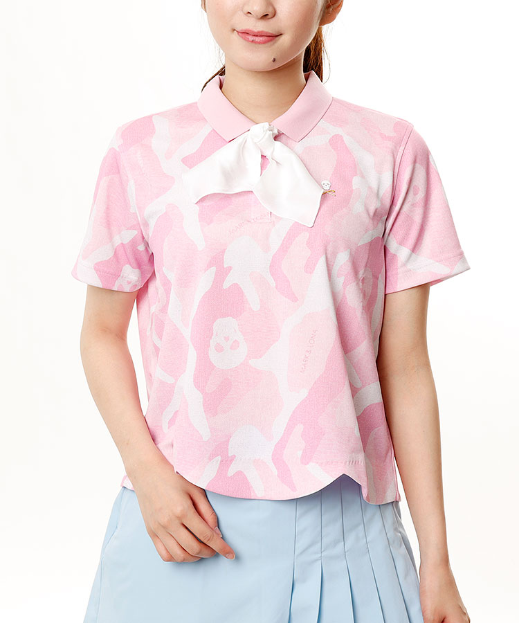 ML カモフラ柄◆スカーフ風タイ付スカラップ裾半袖ポロ