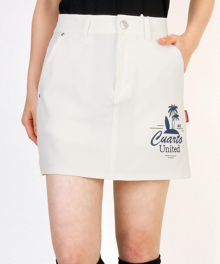 CU Back裾プリーツ♪PalmTreeロゴスカート