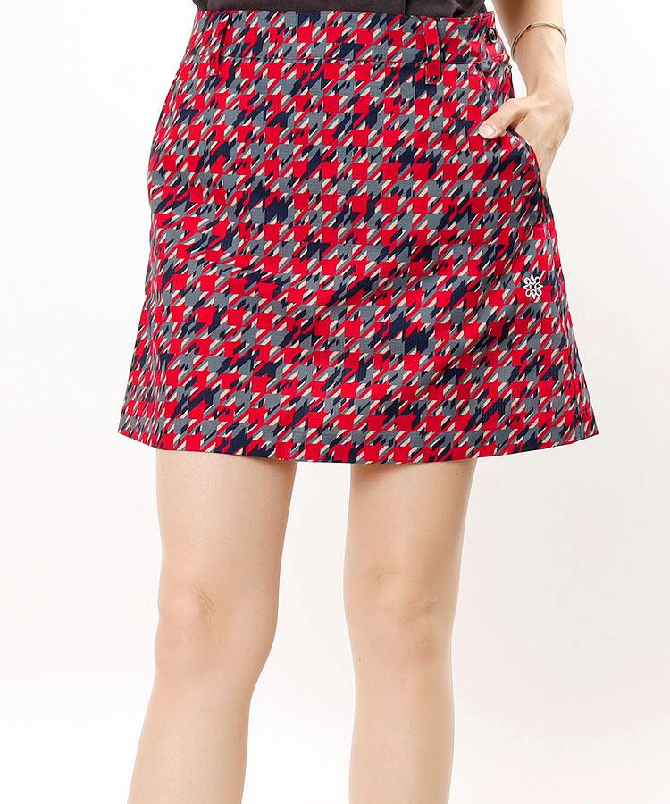 SA 変形千鳥柄Print♪台形スカート