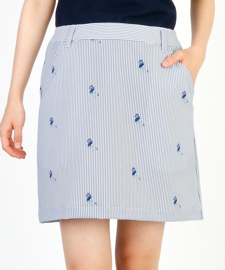 JR Stripeフラミンゴドット◆Aラインスカート