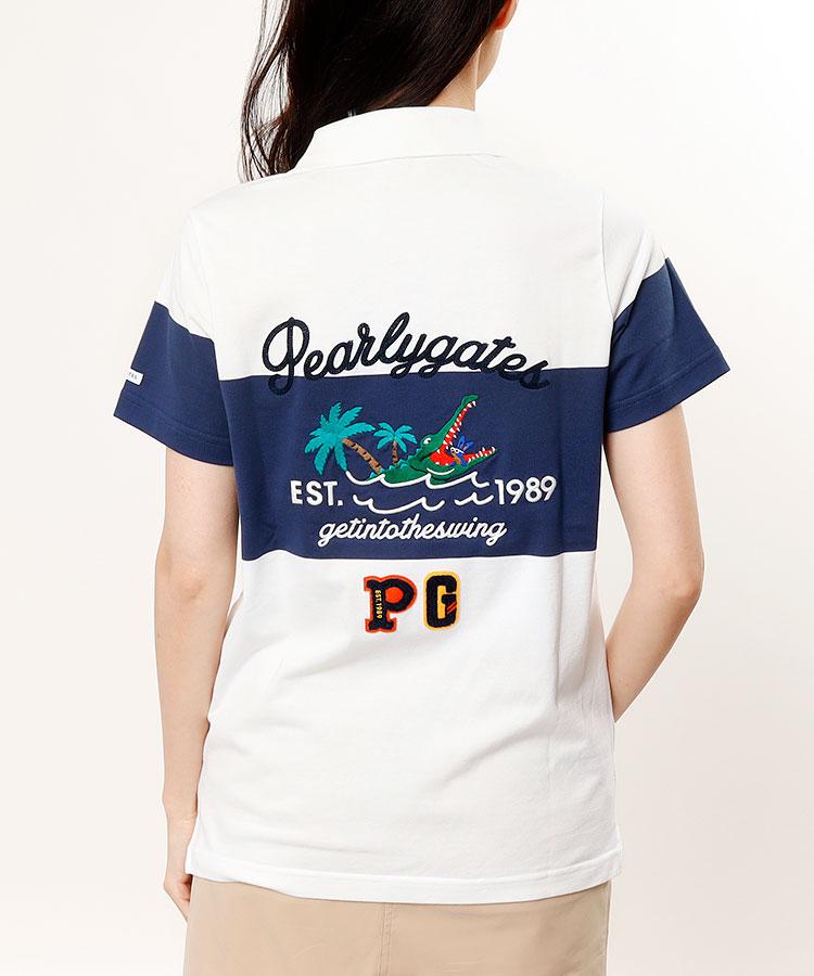 PG BLOCK配色ライン◆Back刺繍半袖ポロ