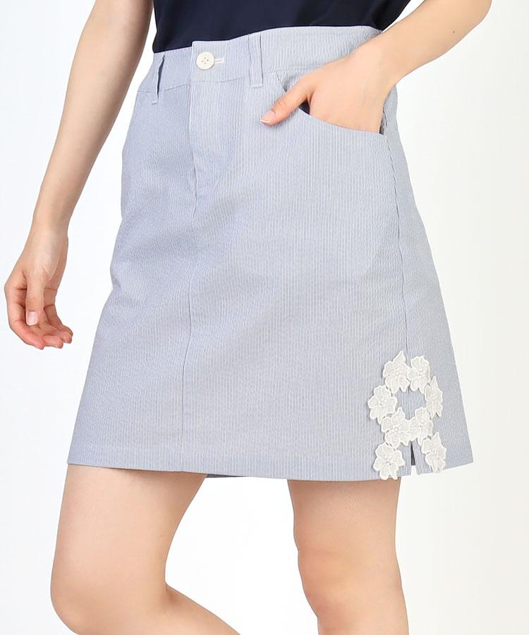 BE SIDE裾Flowerレース◆サッカーStripeスカート