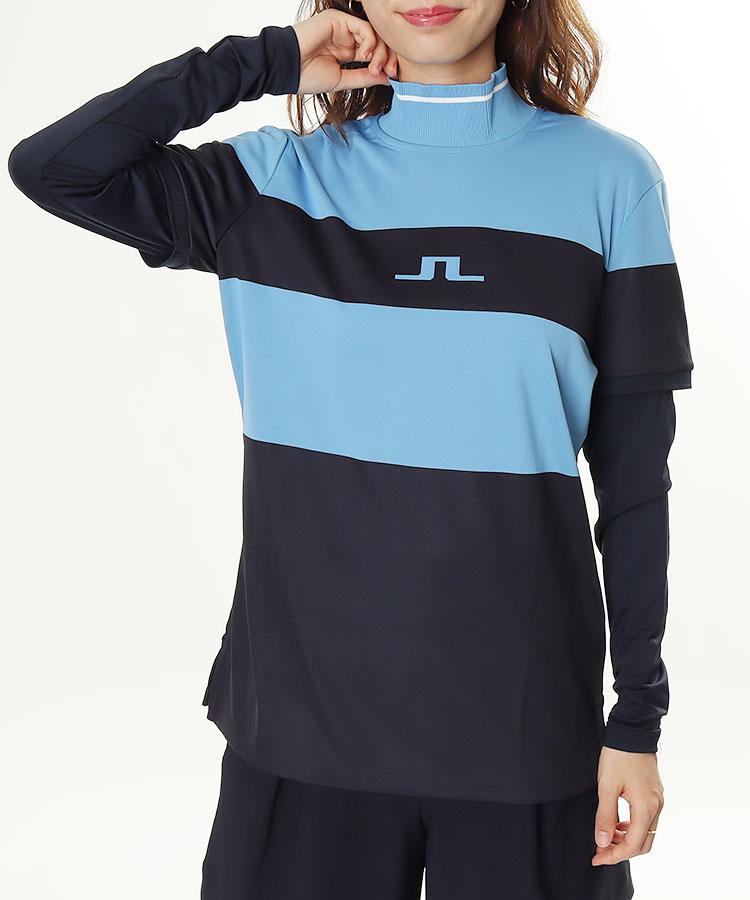 JL パネルBorder★長袖モックネックカットソー