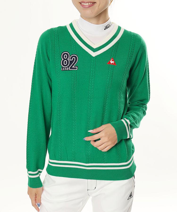 LQ 82ワッペン◆Vネックセーター