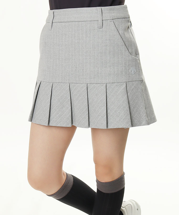 DE 微起毛◆ストライププリーツスカート