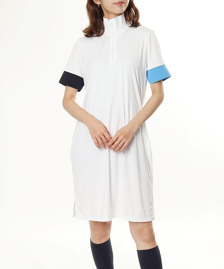 JL ハーフZIP◆袖アシメ半袖ワンピ