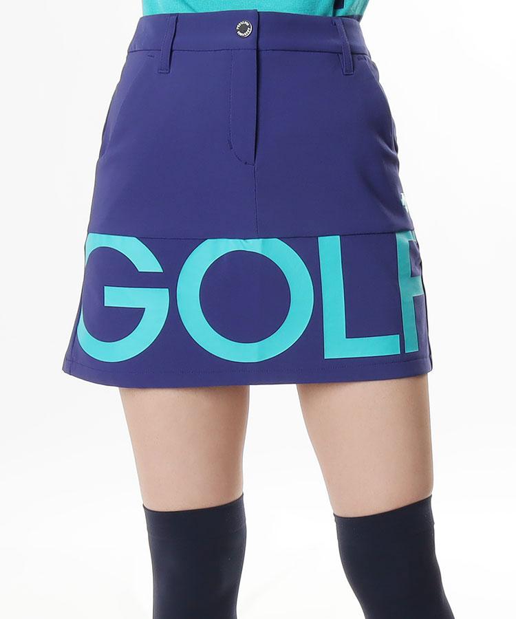 DE 裏起毛◆裾ロゴPrintスカート