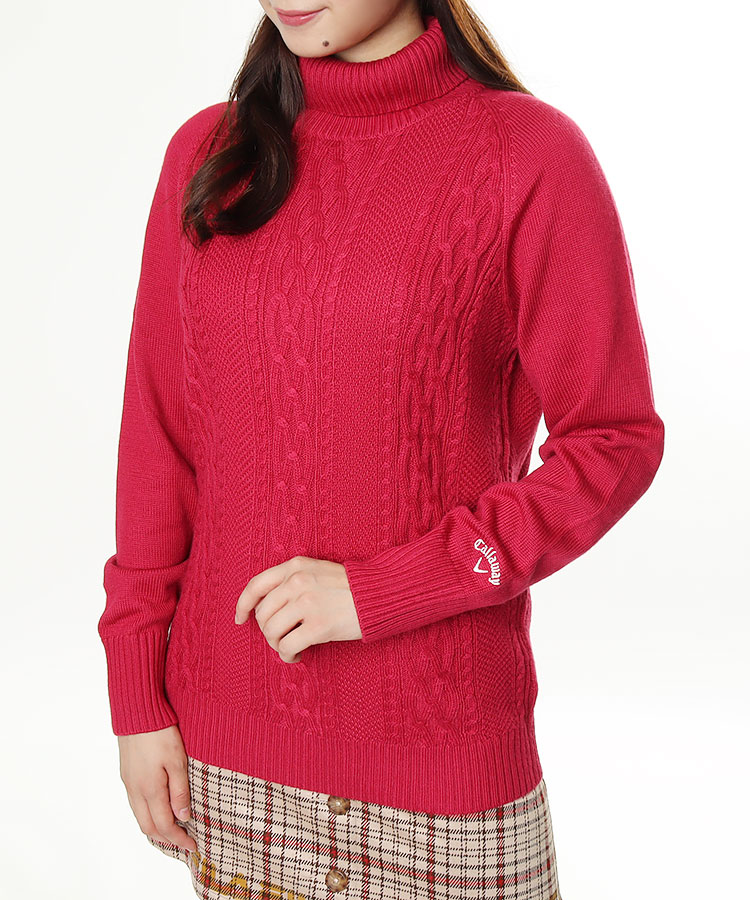 CA ケーブル編み◆タートルネックセーター