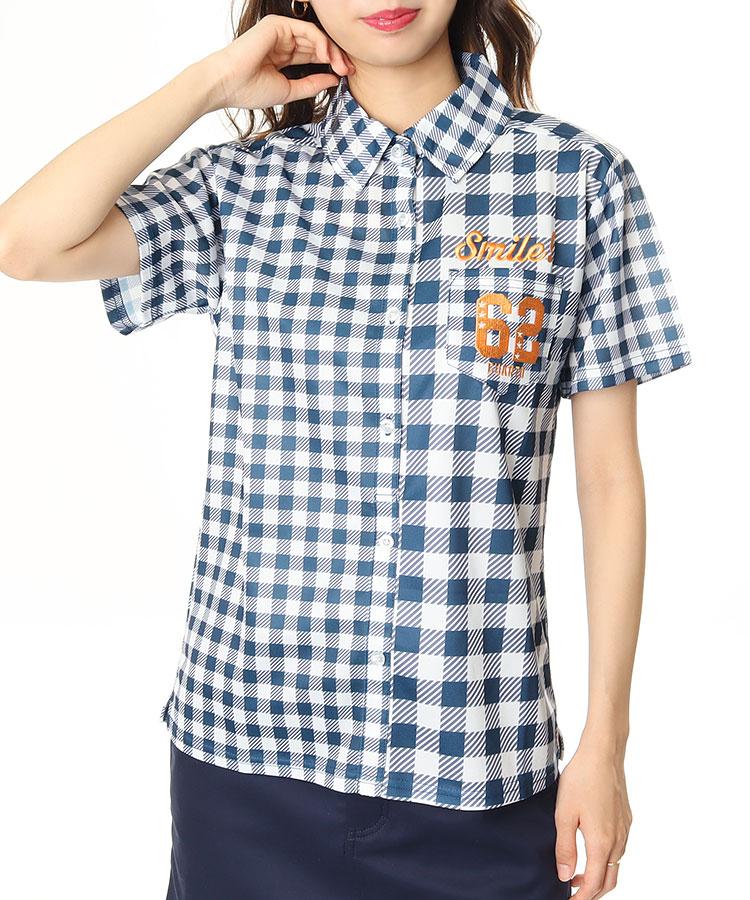 CU ブロックチェックPrint◆半袖シャツ