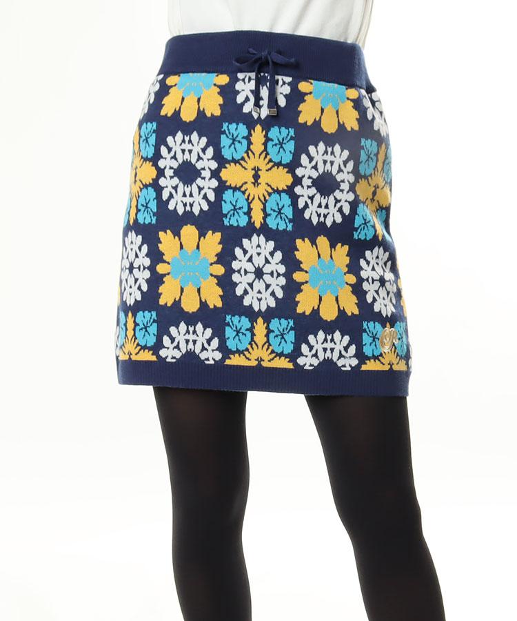 CU ハワイアンキルト柄★ニットスカート