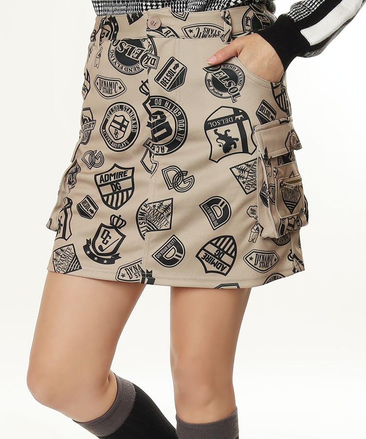 DL ワッペン総柄◆カーゴスカート