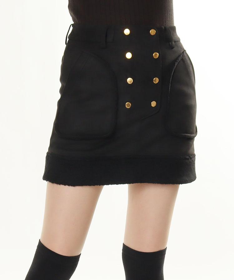 ML 裾ボア◆スエード調スカート