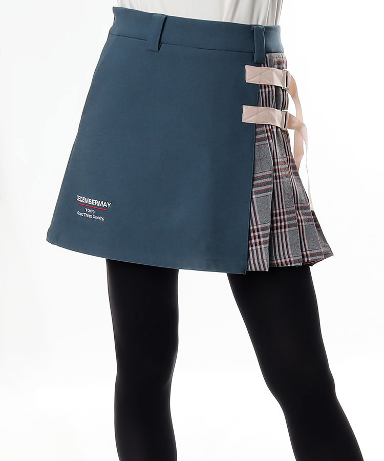 DM 異素材プリーツ◆テープベルト付きスカート