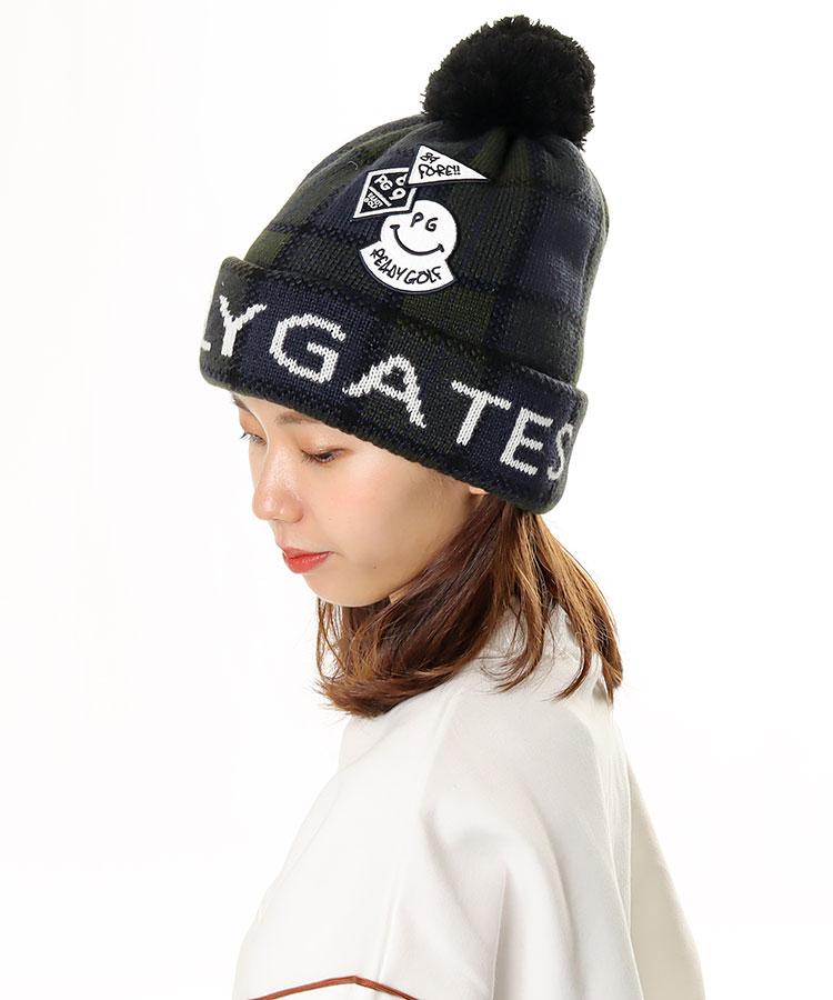 PG ブラックウォッチ◆ポンポン付きニット帽