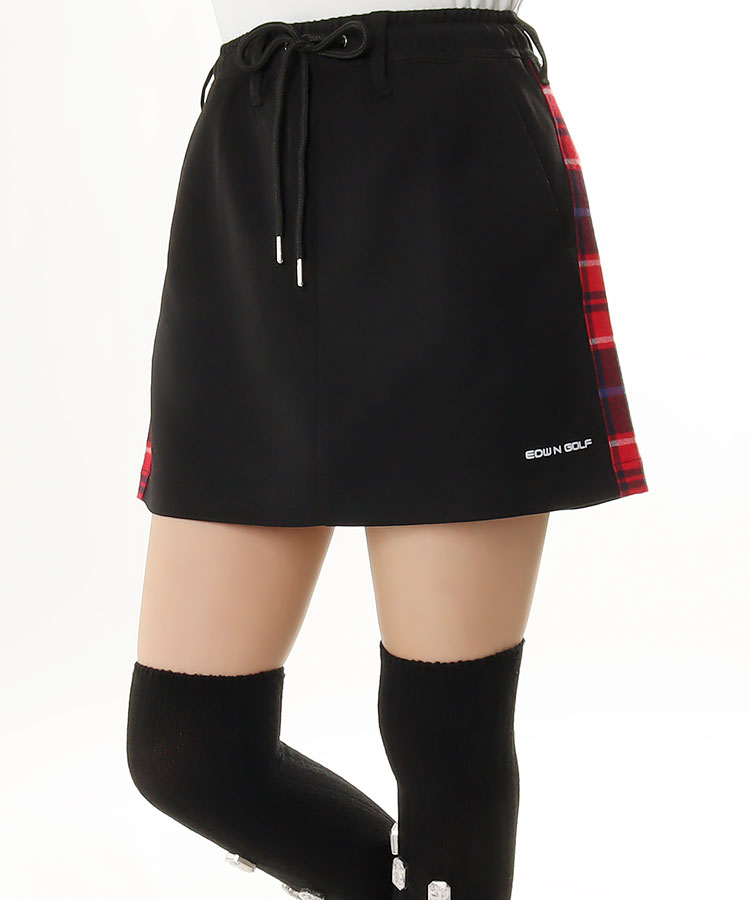 EG サイドチェック◆スウェット調スカート(ブラック)