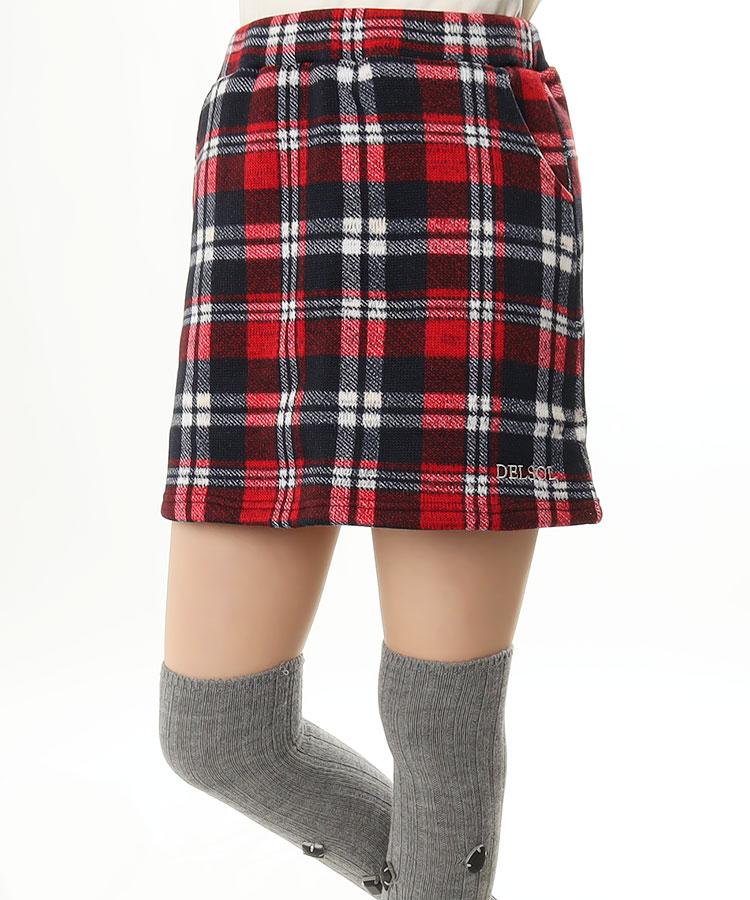 DL チェック柄◆ニットスカート