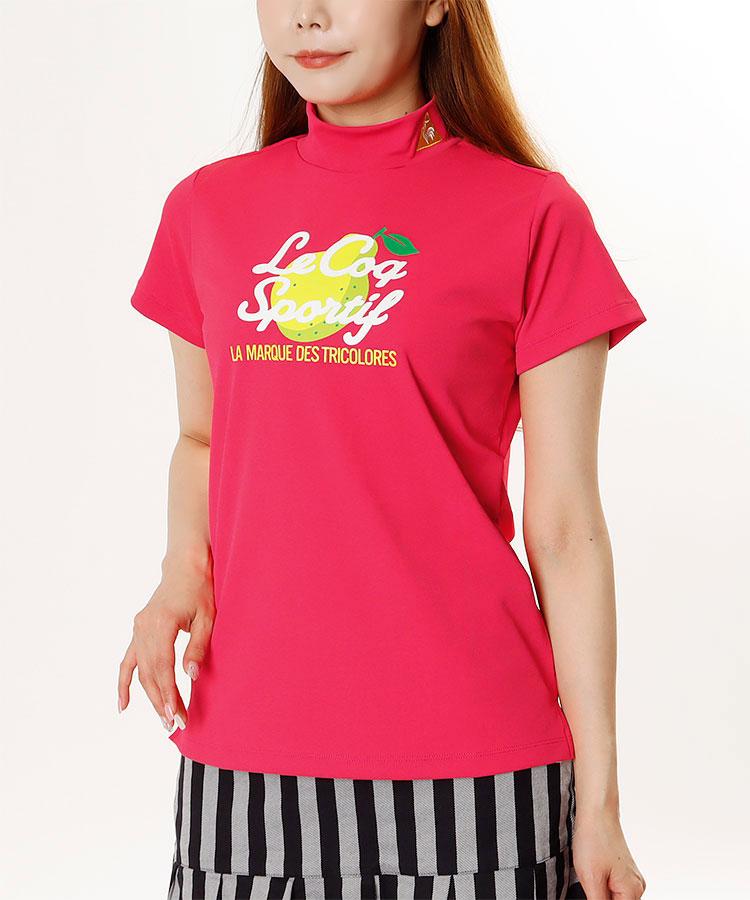 LQ フルーツ柄◆ハイネック半袖カットソー