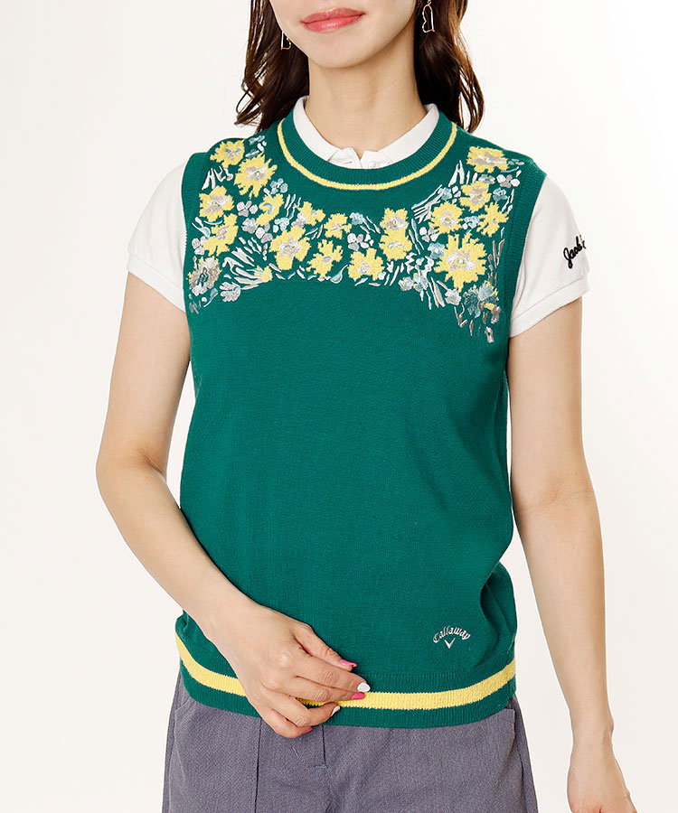 CA Flower刺繍♪ジャカードニットベスト