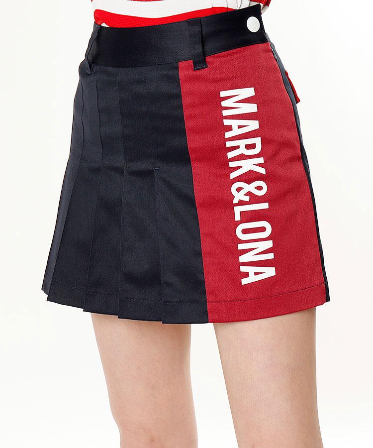 ML 配色プリーツ◆ペチパンツ付きスカート