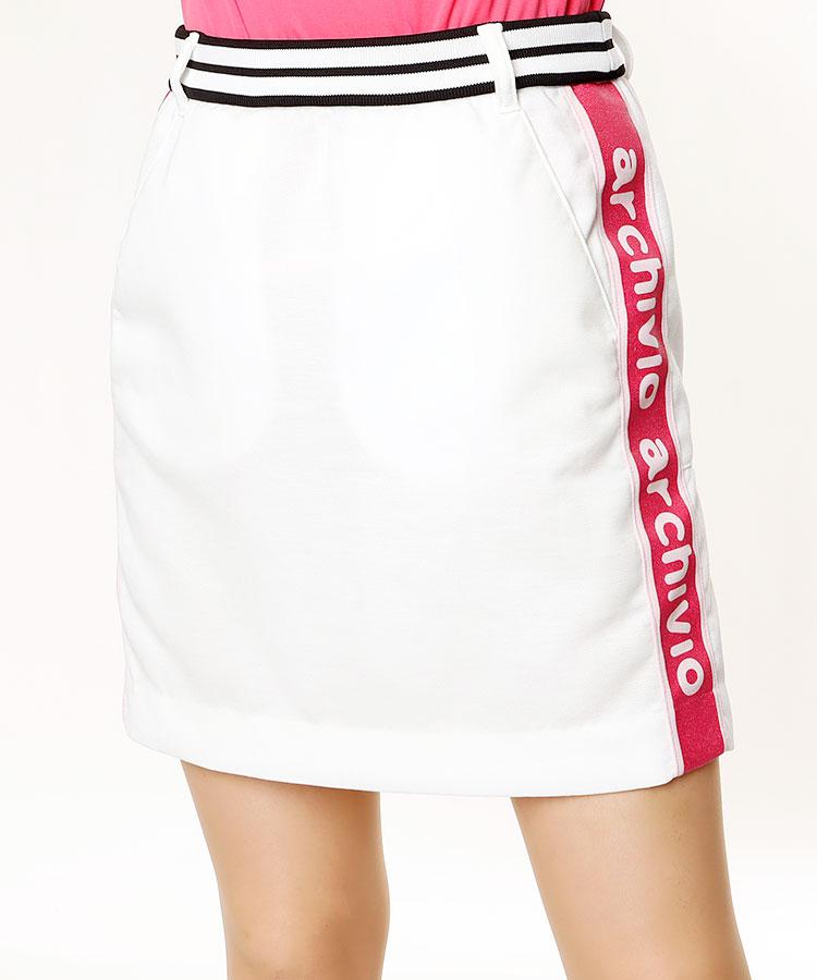 AR SIDEロゴライン◆Backプリーツスカート
