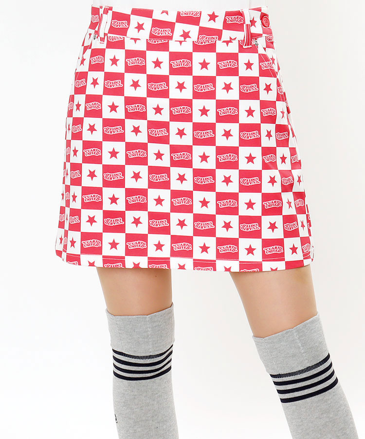 CU ロゴ×スター★ブロックチェックスカート