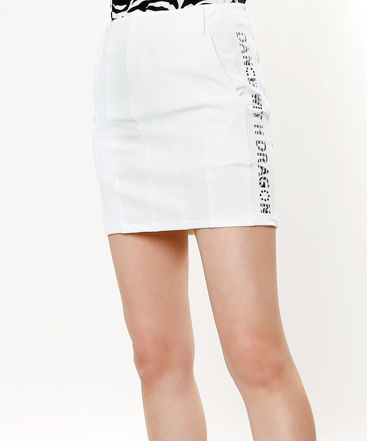 DD サイドストーンロゴ★ストレッチ切替LINEスカート