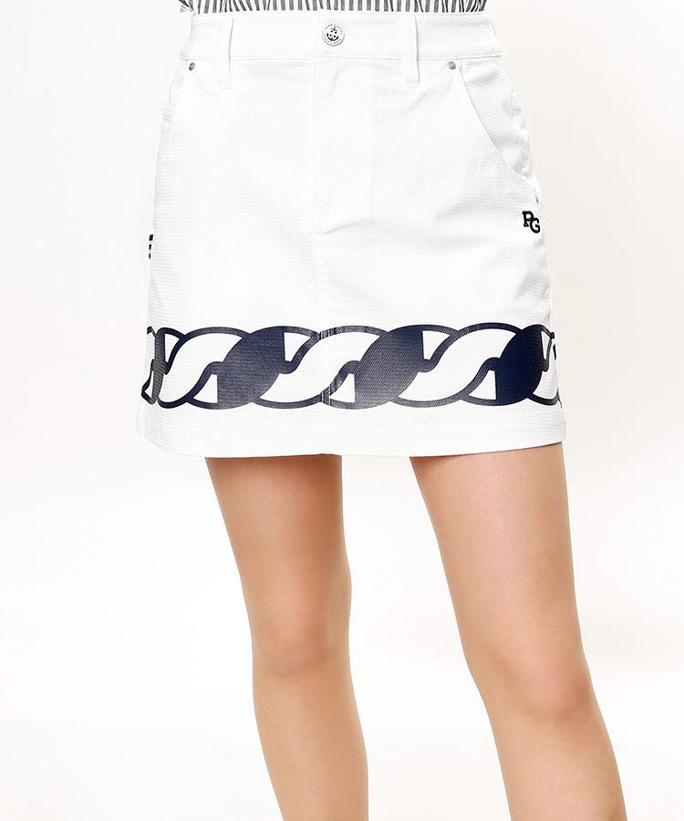 PG 透けにくい★ロープ柄スカート