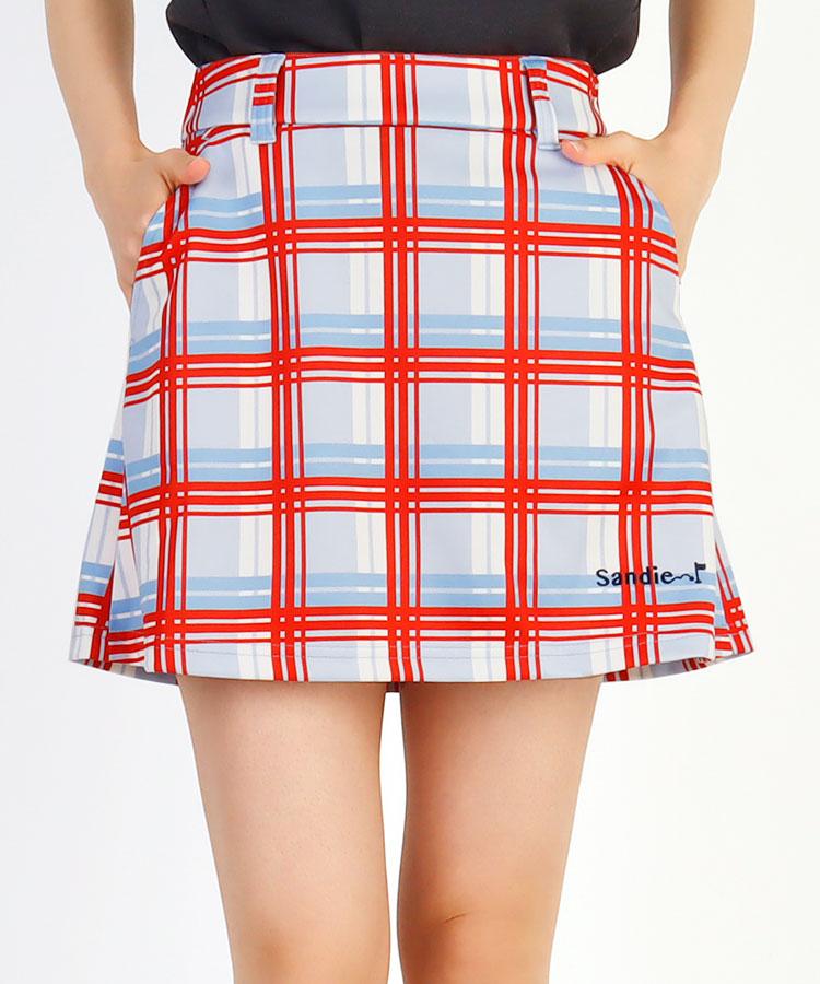SD チェック柄◆ペチ付きフレアスカート