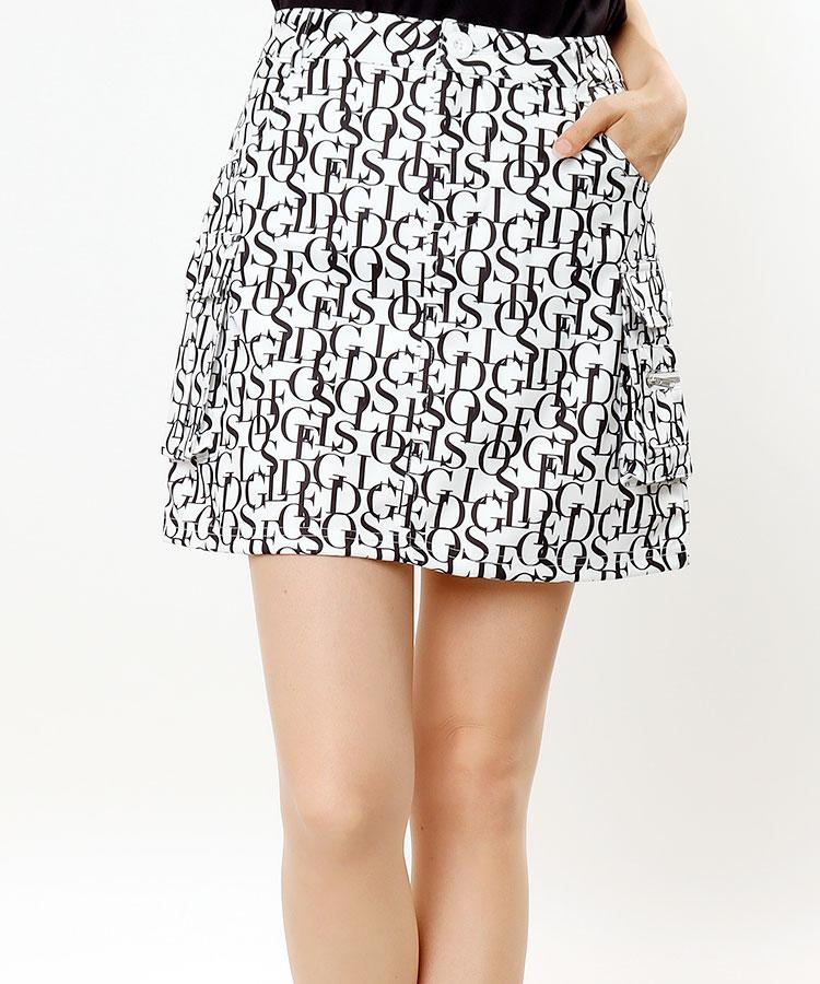 DL アルファベット柄★台形カーゴスカート