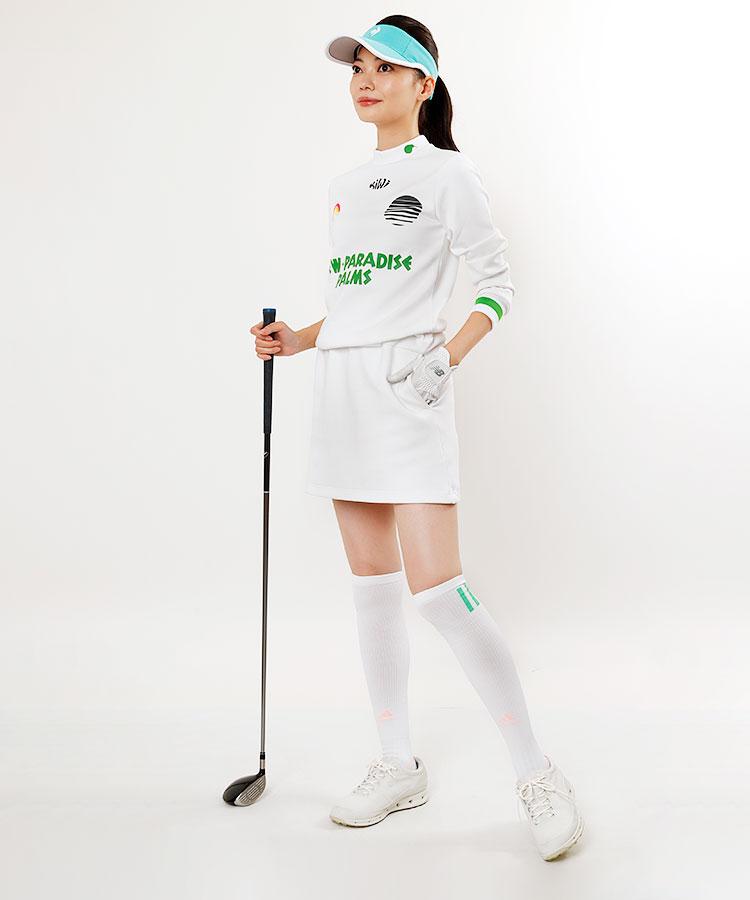 PC 虹ワッペン◆プリントモックネックワンピース