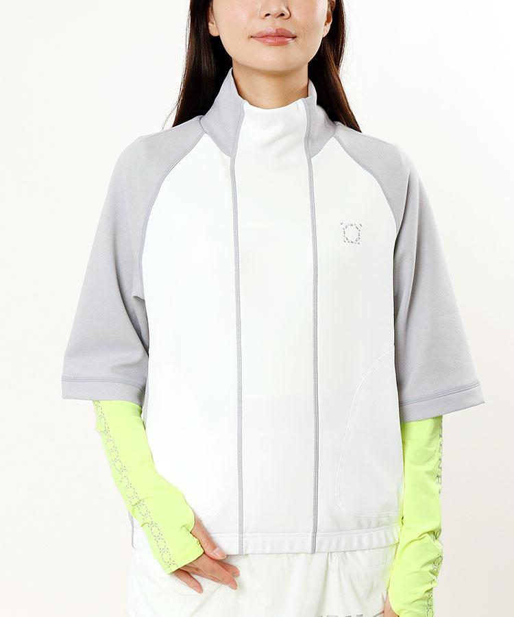 HC スタンドカラー切替★7分袖プルオーバー