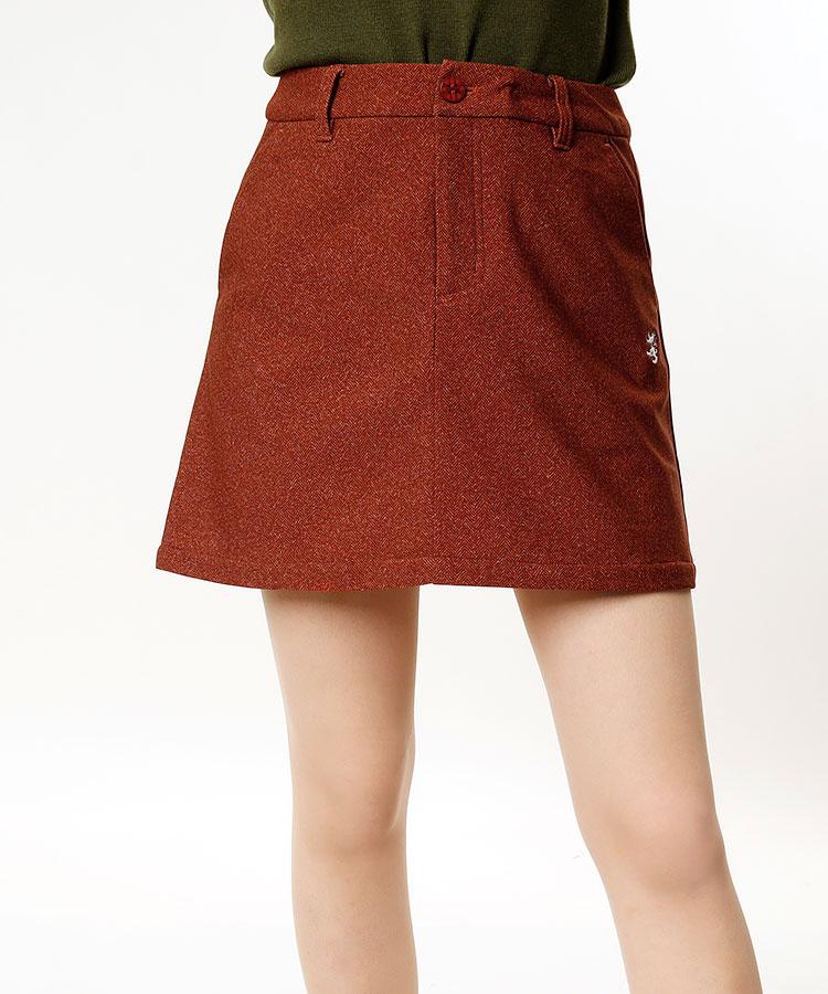 AM ヘリンボーン柄◆あったかスカート