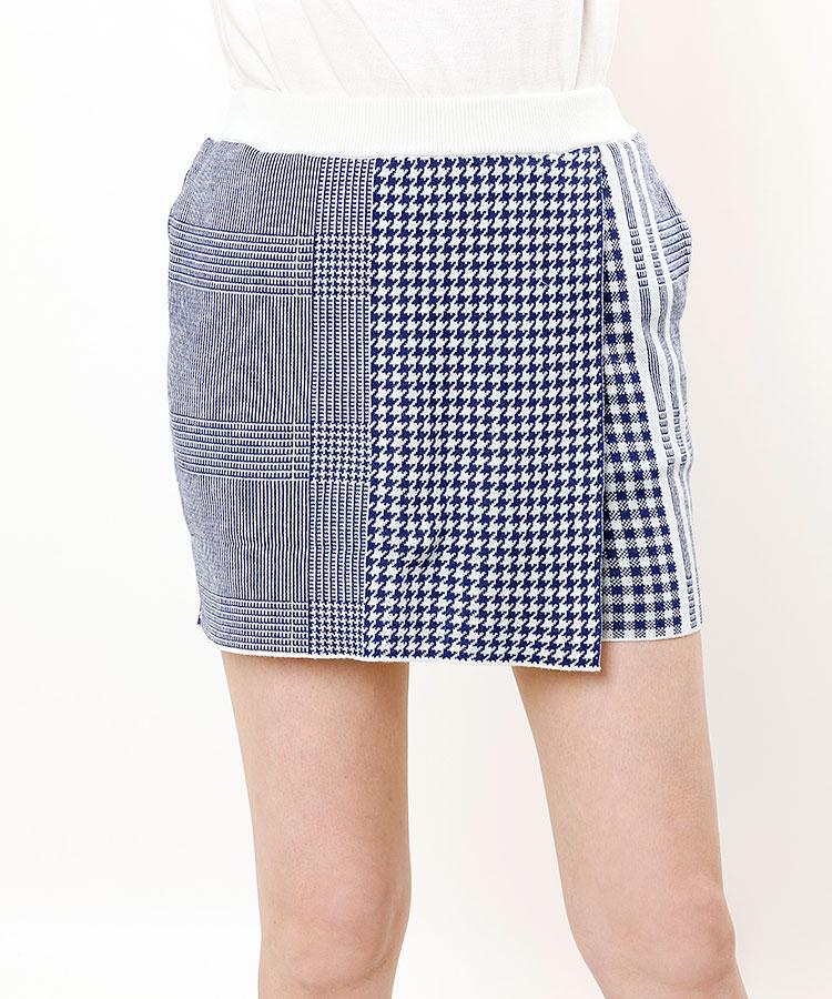 AG マルチチェック★ラップ風ニットスカート