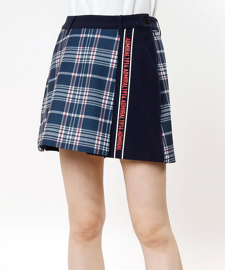 AM プリント切替★プリーツスカート