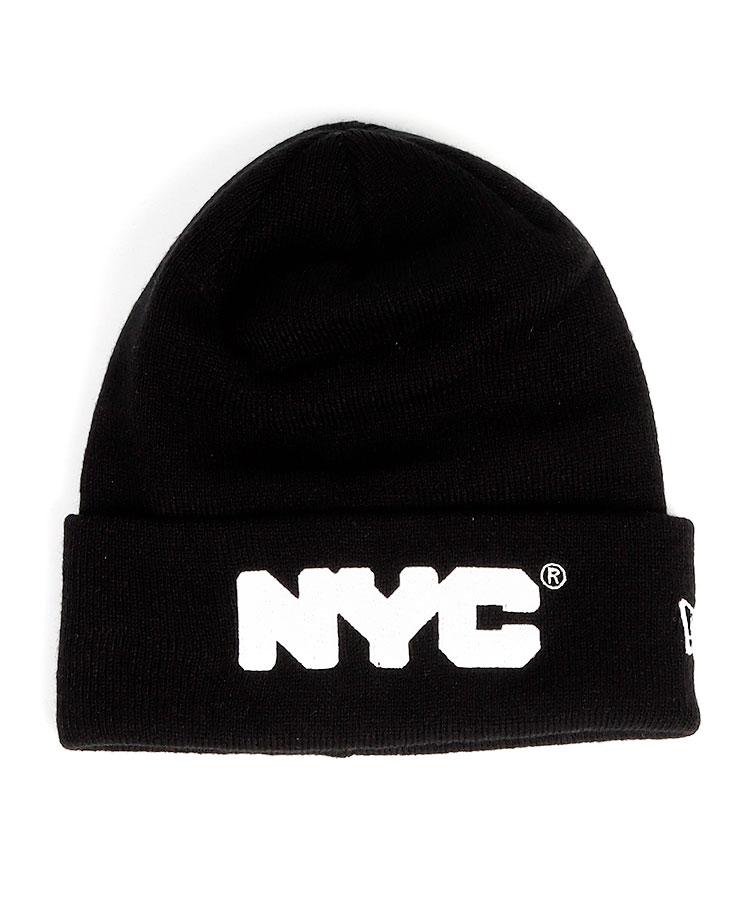 NE NYCロゴ◆Simpleニット帽(ブラック)