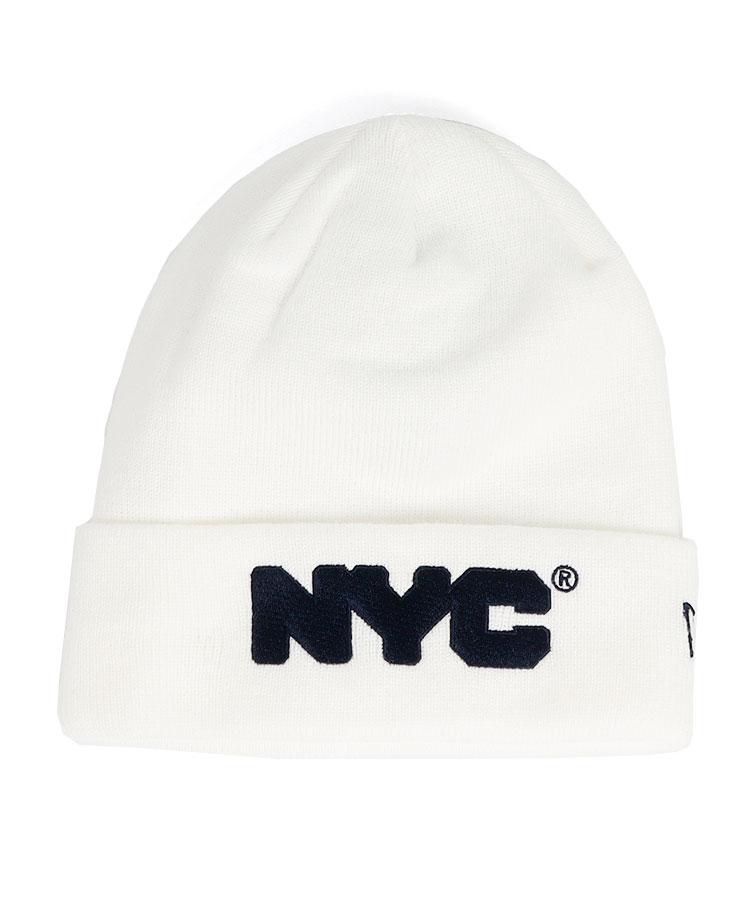 NE NYCロゴ◆Simpleニット帽(ホワイト)
