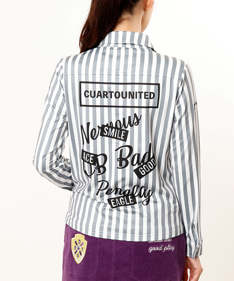 CU Backプリント★長袖Stripeシャツ