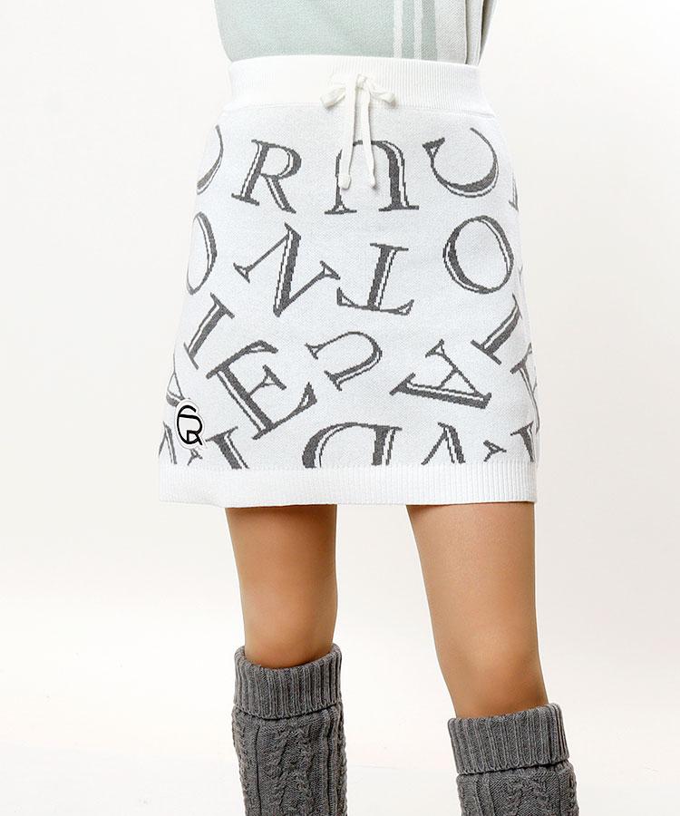 CU ランダムロゴ★ニットスカート